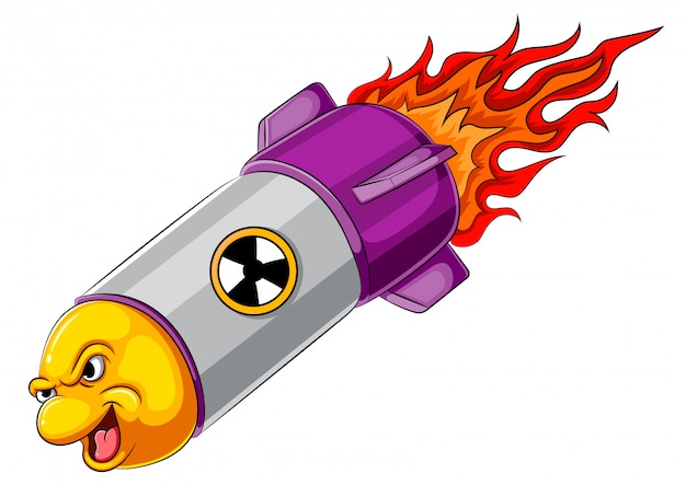 Angry missile cartoon character
