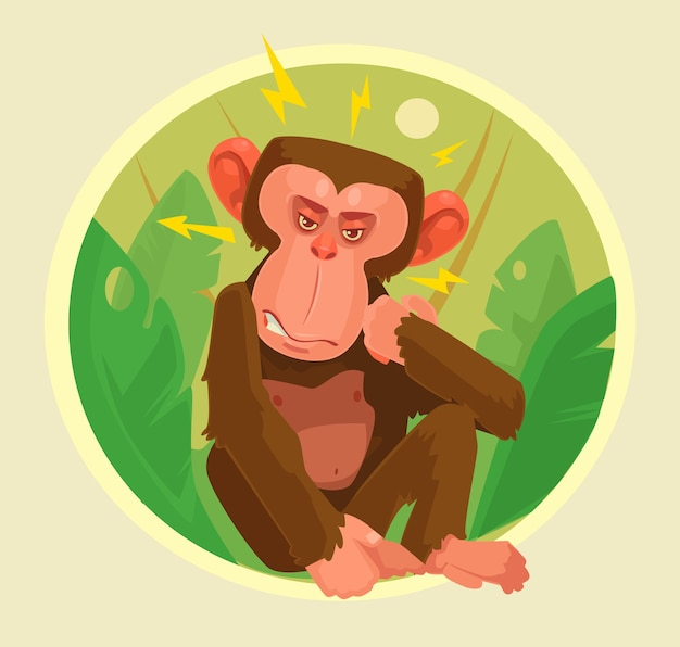 怒っている猿のキャラクター。