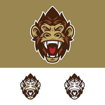 Angry monkey head mascot logo