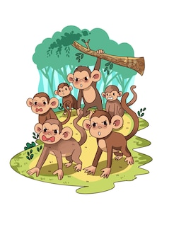 Angry monkeys in jungle