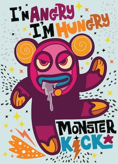 Angry monster look like bear be hungry