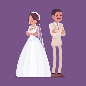 Сердитая обиженная невеста, жених на свадебной церемонии Premium векторы