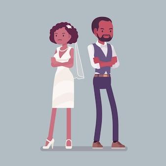怒っている気分を害した花嫁、結婚式の新郎