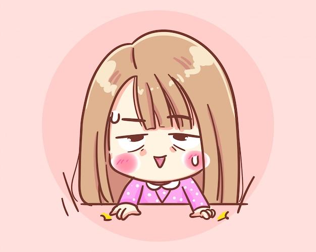 怒っているオフィスの女の子キャラクター。激怒イライラ打撃テーブル漫画アートイラストプレミアムベクトル