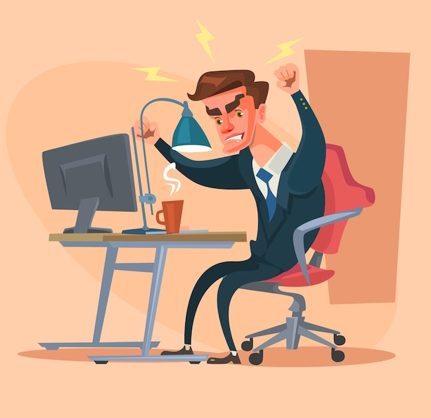 Angry office man character isolated on beige