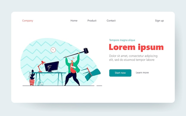 Angry office worker breaking computer with hammer. tired adult man stressed from hard work flat vector illustration. business, work stress concept for banner, website design or landing web page