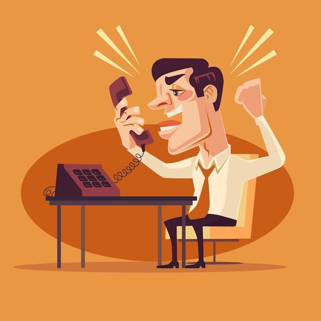 Злой офисный работник персонаж кричит по телефону