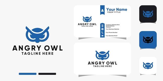Злой сова лицо логотип и дизайн визитной карточки векторный шаблон