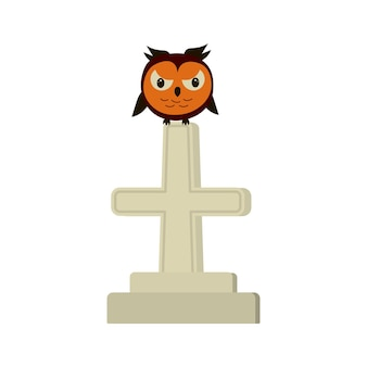 Angry owl sitting on a gravestone cross. halloween vector symbol.