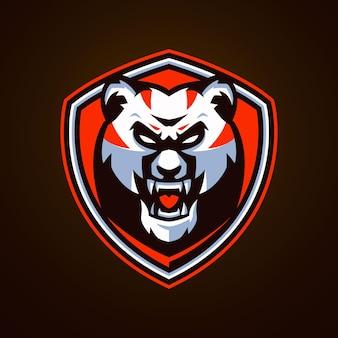 怒っているパンダeスポーツのロゴのテンプレート