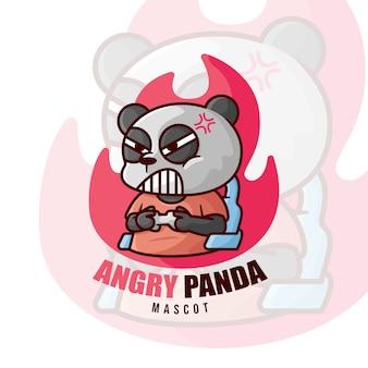 怒りのパンダゲーミングマスコットロゴ