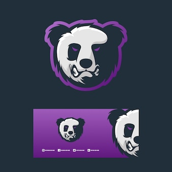Angry panda logo concept design illustration