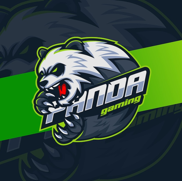 ゲームとeスポーツのロゴデザインのための怒っているパンダのマスコットキャラクター