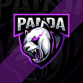 怒っているパンダのマスコットのロゴeスポーツデザインテンプレート