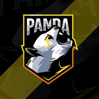 Шаблон дизайна логотипа талисмана злой панды