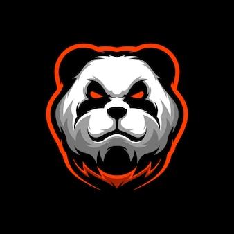 Angry panda mascot logo gamin  illustration