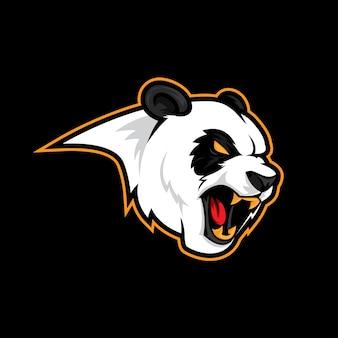 Angry panda roar logo mascot