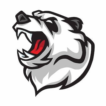 Angry panda roar mascot logo design
