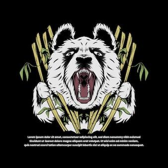 Злая панда с бамбуковой иллюстрацией в японском стиле