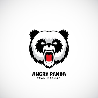 Злой pandateam талисман, ярлык или шаблон логотипа. медведь лицо значок без фона.