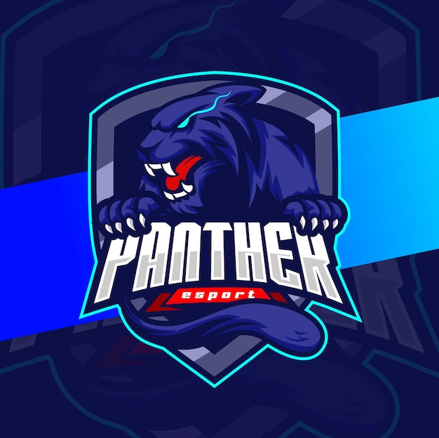 Angry panther head mascot esport logo design character for sport and gaming