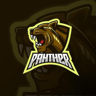 怒っている豹のマスコットeスポーツのロゴデザイン。側面図パンサーヘッドのロゴデザイン。