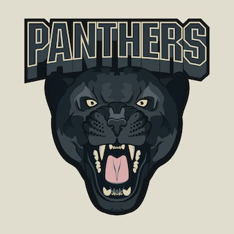 Angry panther sport team emblem, wild big cat head.
