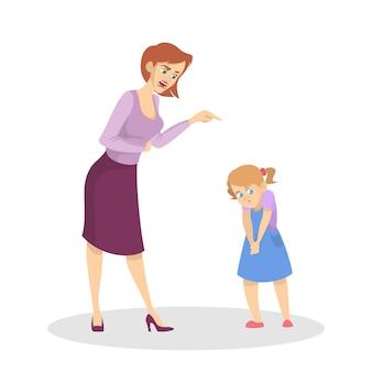 Сердитый родитель кричит на маленького ребенка