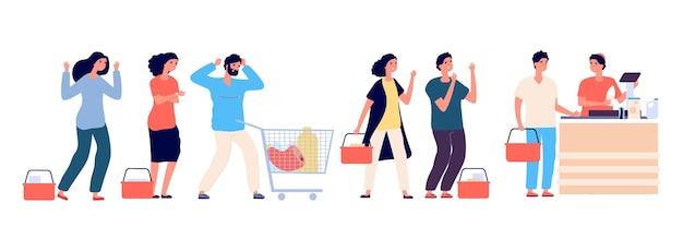 怒っている人が列に並ぶ。スーパーマーケットの列に立っている不満や疲れた顧客は、購入することで悲鳴を上げ、誓います。