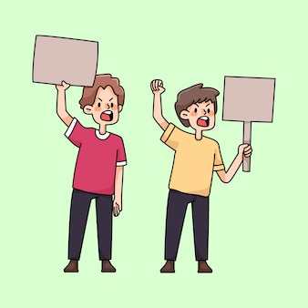 Angry people rallying protest cute cartoon illustration