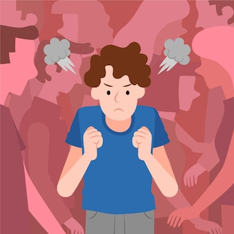 Angry person in crowd