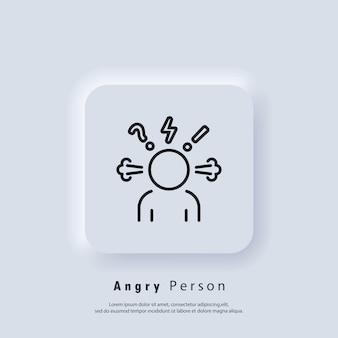 怒っている人のアイコン。頭痛のグリフアイコン。怒りと苛立ち。欲求不満。攻撃性のアイコン。職業性ストレス。感情的なストレス症状。神経の緊張。ベクター。 neumorphic ui ux