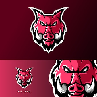 Angry pig animal sport or esport gaming mascot logo