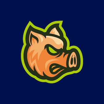 Angry pig head mascot vector illustration