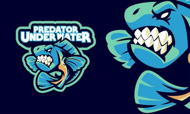 화난 피라냐 물고기 스포츠 로고 마스코트 그림