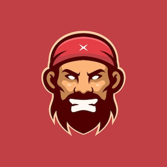 Angry pirate head cartoon logo template illustration. esport logo gaming premium vector
