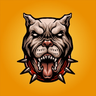 Angry pitbull head