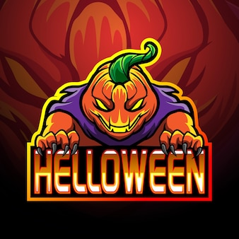 Angry pumpkin halloween mascot logo