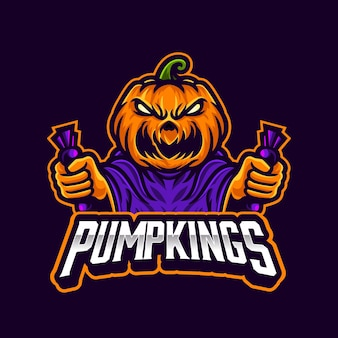 Angry pumpkin holding candy halloween mascot for team or streaming