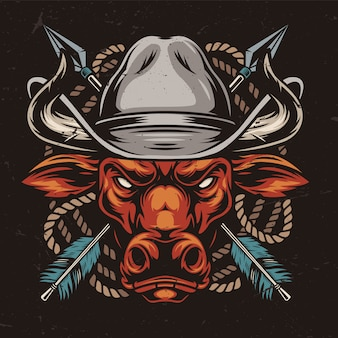 Angry red bull head in cowboy hat