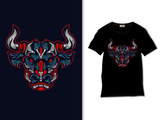 Tシャツのデザインと怒っているレッドブルイラスト