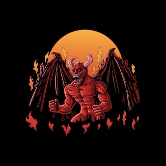 Angry red devil illustration