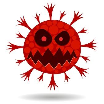 화난 빨간 바이러스 얼굴 만화 이미지, 흰색 배경에 세균 그림.