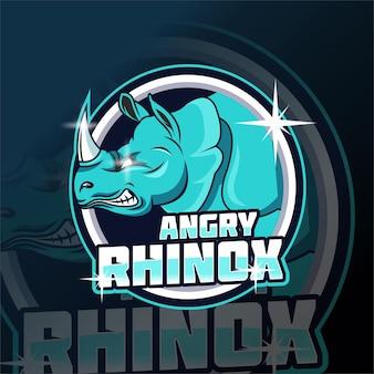 Angry rhino e sport logo template