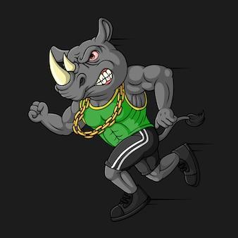 Angry rhino, hand drawn, vector