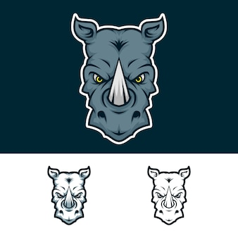 Angry rhino head mascot logo