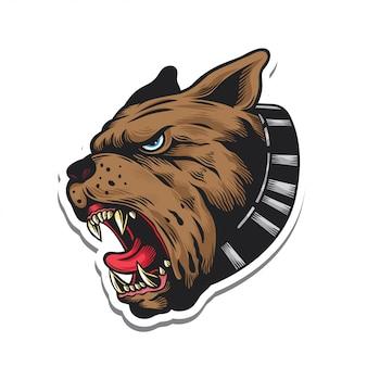 Angry roar bulldog sticker