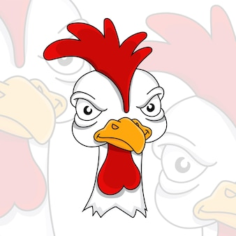 Angry rooster displeased poultry team mascot