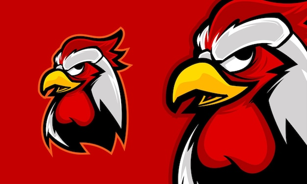 Сердитая голова петуха премиум логотип талисман векторная иллюстрация