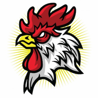 Angry rooster mascot logo cartoon design illustration